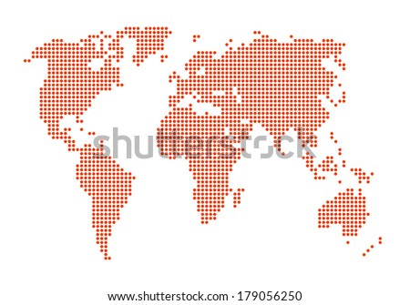 dotted orange color world map on isolated background - stock photo