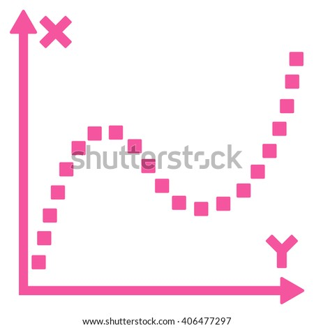 Dotted Plot glyph toolbar icon. Style is flat icon symbol, pink color, white background, square dots.
