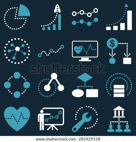 Dotted raster infographic business icons. This bicolor raster icon set uses blue and white colors and dark blue background. - stock photo