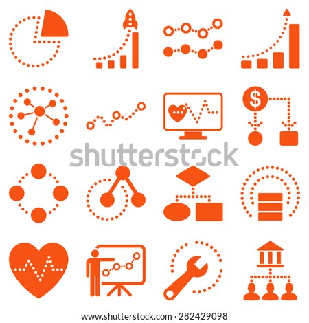 Dotted raster infographic business icons. This raster icon set uses orange color and white background. - stock photo