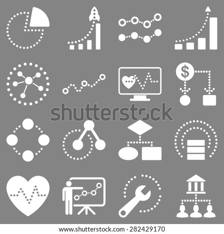 Dotted raster infographic business icons. This raster icon set uses white color and gray background. - stock photo