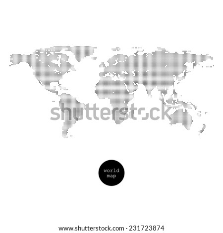 Dotted world map isolated on white - stock photo