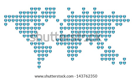 Dotted world map made of blue spheres. Raster version. Vector version is also available. - stock photo