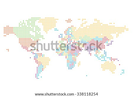 Dotted World map of square dots on white background. - stock photo
