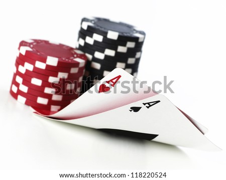 double aces with fiches on white background - stock photo