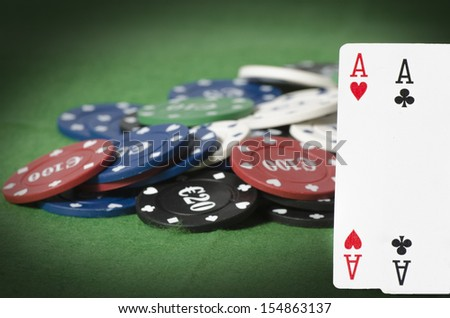 Double aces with gambling chips