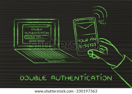 double authentication and account security: computer with login and phone text with pin