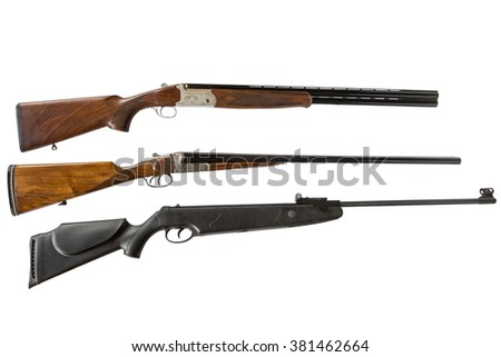 double-barreled shotguns and air gun isolated on white background - stock photo