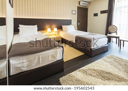 Double bed bedroom interior