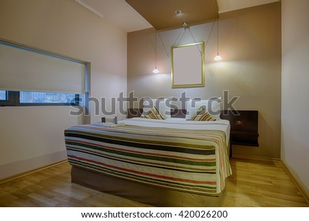 Double bed hotel room interior