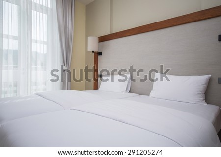 double bed in bedrooms are decorated in modern style, interior - stock photo