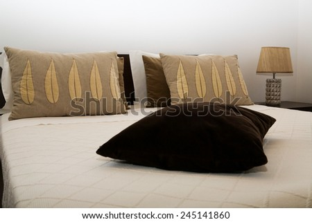 Double bed room in a hotel room - stock photo