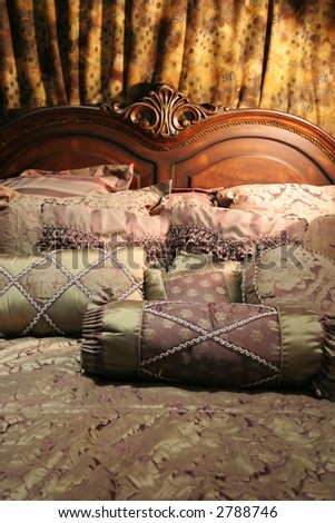 Double bed with beautiful linen - home interiors