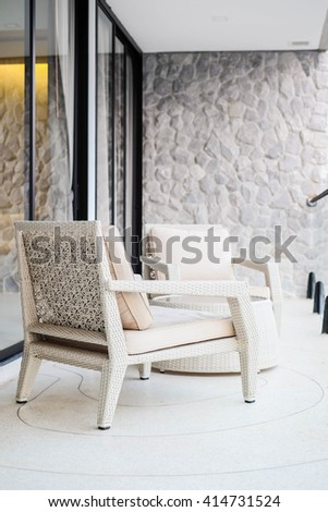 Double beige chairs - stock photo