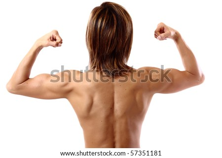 double biceps from behind - stock photo