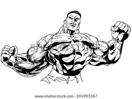 double biceps,illustration,black and white,drawing,outline