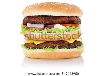 Double burger hamburger cheese isolated on a white background
