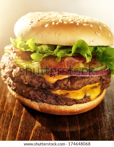 double burger with bacon and the works - stock photo