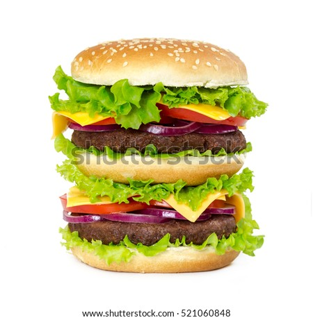 Double burger with cutlet, onions, cheese, tomatoes and salad leaves isolated on white background