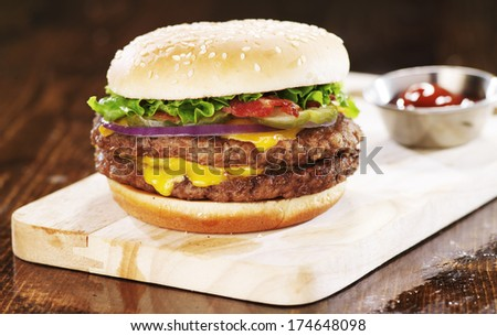 double cheese burger with bacon - stock photo