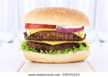 Double cheeseburger hamburger burger fresh tomatoes lettuce cheese onion