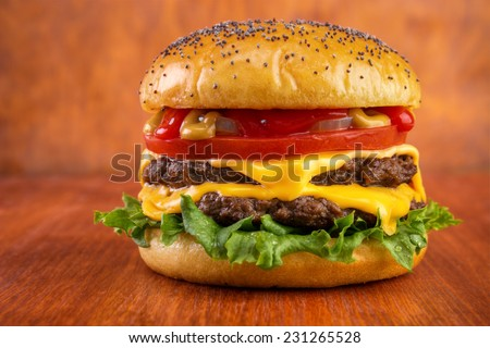 Double cheeseburger with tomato, onion, mustard and ketchup, poppy seeds on top bun , on red wooden table  - stock photo