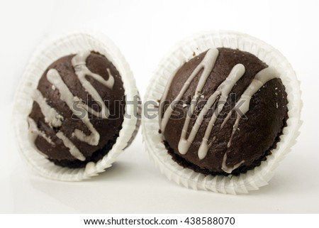 double chocolate cake/candy on white background isolated