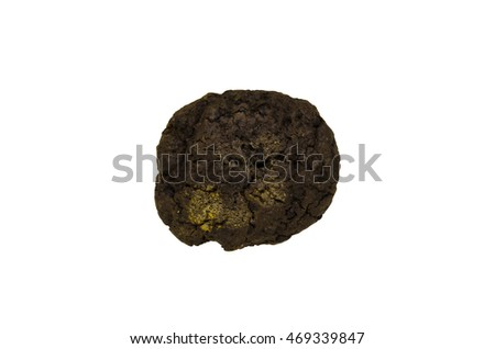 double chocolate chip cookie isolated on white background clipping path