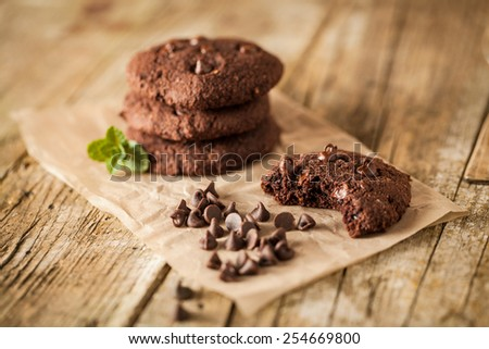 Double chocolate chip cookies with mint - stock photo