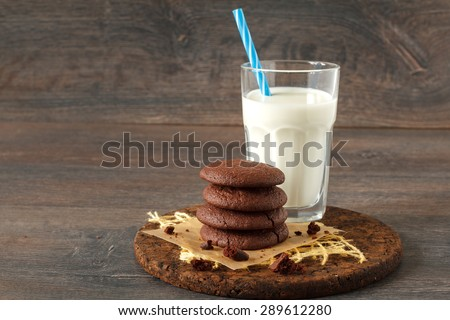 Double chocolate chip cookies with mint and coconut milk - stock photo