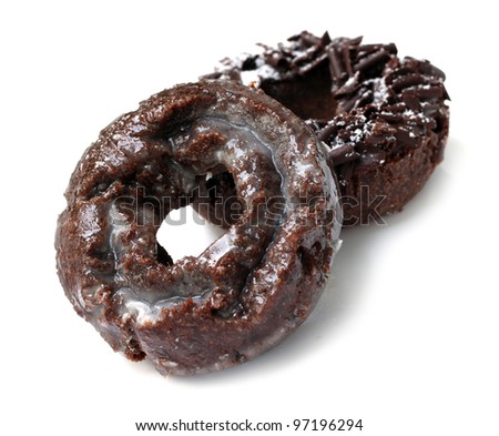 Double Chocolate Donuts - stock photo