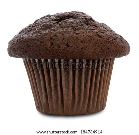 Double chocolate muffin isolated on white with clipping path. Very shallow depth of field. - stock photo