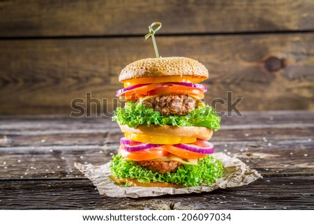 Double-decker burger made from vegetables and beef - stock photo
