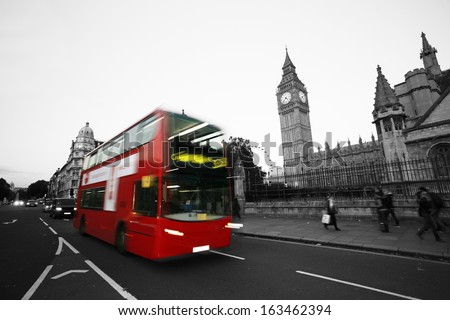 Double Decker Bus, most iconic symbol of London, motion blurred, and Big Ben in the background.