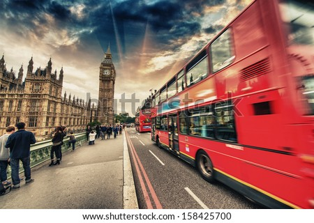 Double Decker Red Bus speeding up in Westminster Bridge - London. - stock photo