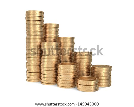 Double diagram of golden coins isolated on white