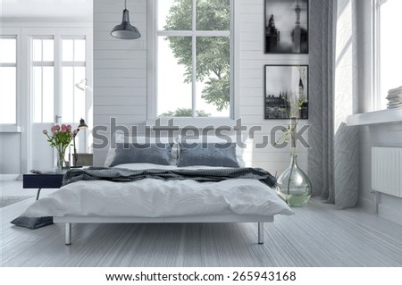 Double divan bed in a light spacious upmarket modern bedroom with large windows and artwork on the walls in grey and white decor. 3d Rendering - stock photo