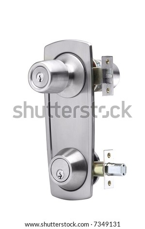 double door lock  silverplated in white background - stock photo