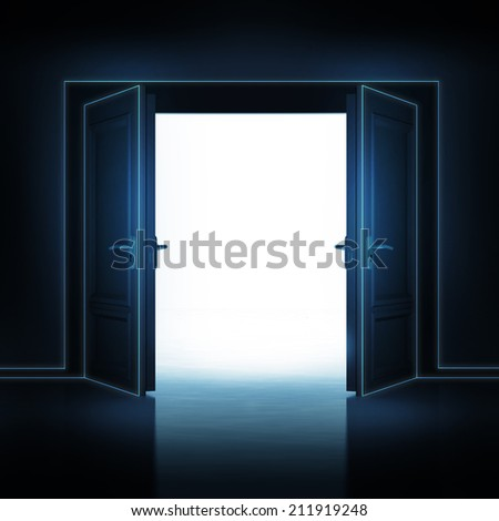 double door opened from dark to light room 3D illustration - stock photo