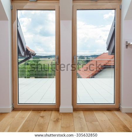 Double Door To A Terrace With Beautiful View