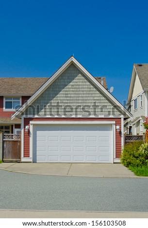 Double doors garage. North America. - stock photo