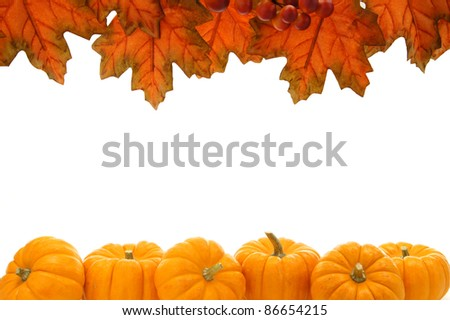Double edge border of autumn leaves and pumpkins over white