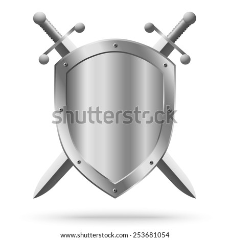Double-edged swords and medieval shield isolated on white background - stock photo