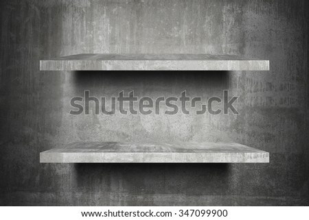 double empty concrete shelves top Ready for product display montage; concrete shelves and gray cement background. - stock photo