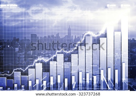 Double explosure with business chart and city view