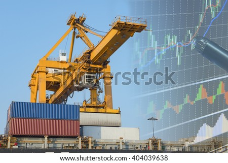 Double explosure with businesss charts , airplane and Container Cargo freight ship with working crane bridge in shipyard at evening light.