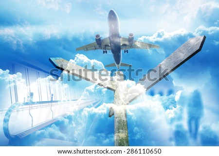 Double Exposition, signpost with the background of airplane flying in the blue sky.