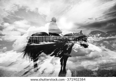 double exposure abstract background with cowboy riding horse