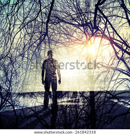 Double exposure abstract conceptual photo collage, man standing on the coast, shining sun and tree  branches pattern - stock photo