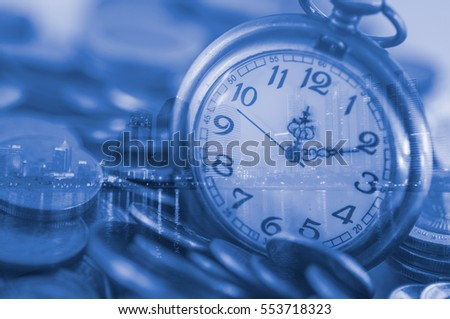 Double exposure antique pocket clock  on coins with night city, Finance and money saving concept